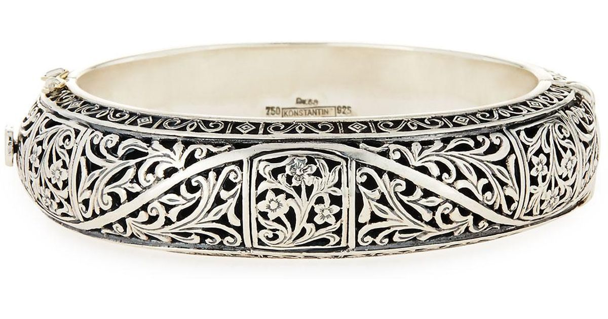 Lyst Konstantino Silver Clics Etched Fl Bangle Bracelet In Metallic
