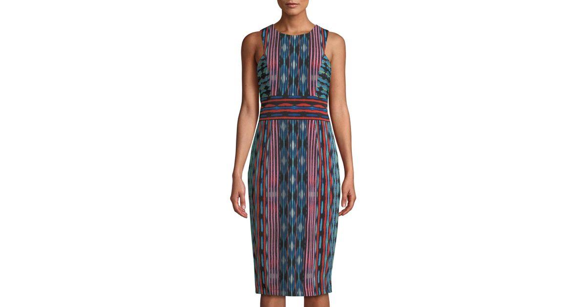 5f859174c205 Lyst - Maggy London Jewel-neck Striped Midi Sheath Dress in Blue