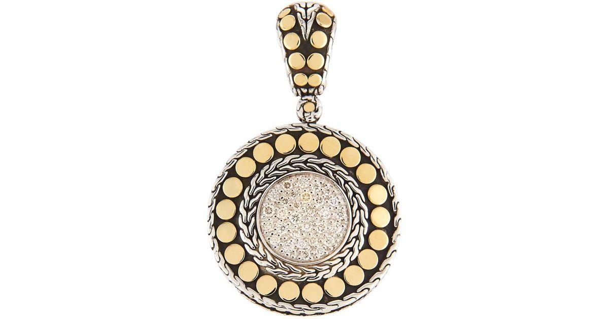 Lyst john hardy dot round diamond pendant in metallic mozeypictures Images