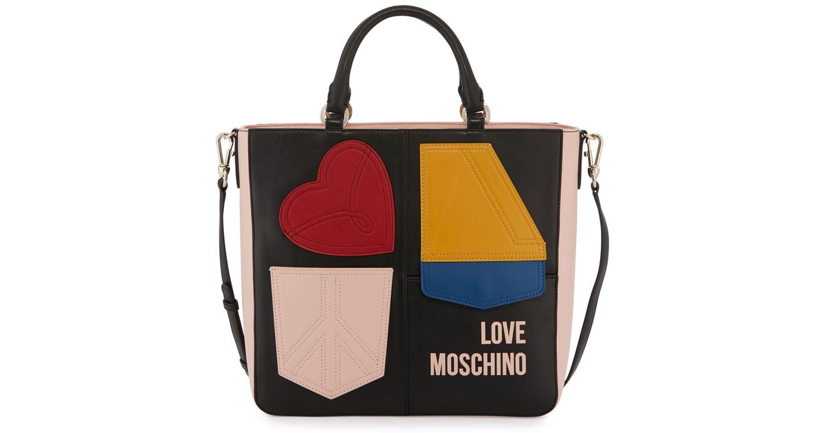 Lyst love moschino colorblock applique tote bag