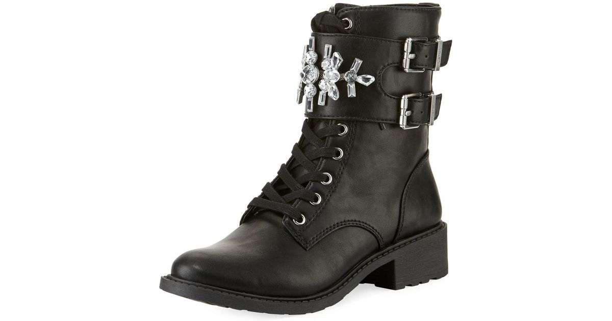651991b88 Lyst - Circus by Sam Edelman Dakota Embellished Combat Booties in Black