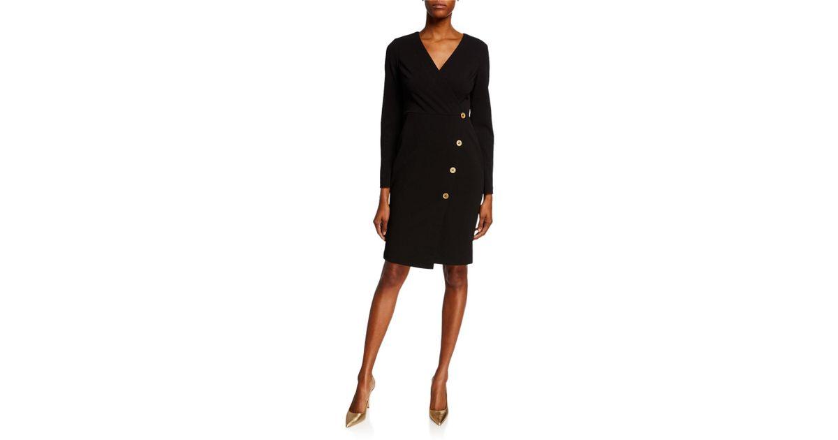9584d66d Donna Karan V-neck Faux Wrap Sheath Dress in Black - Lyst