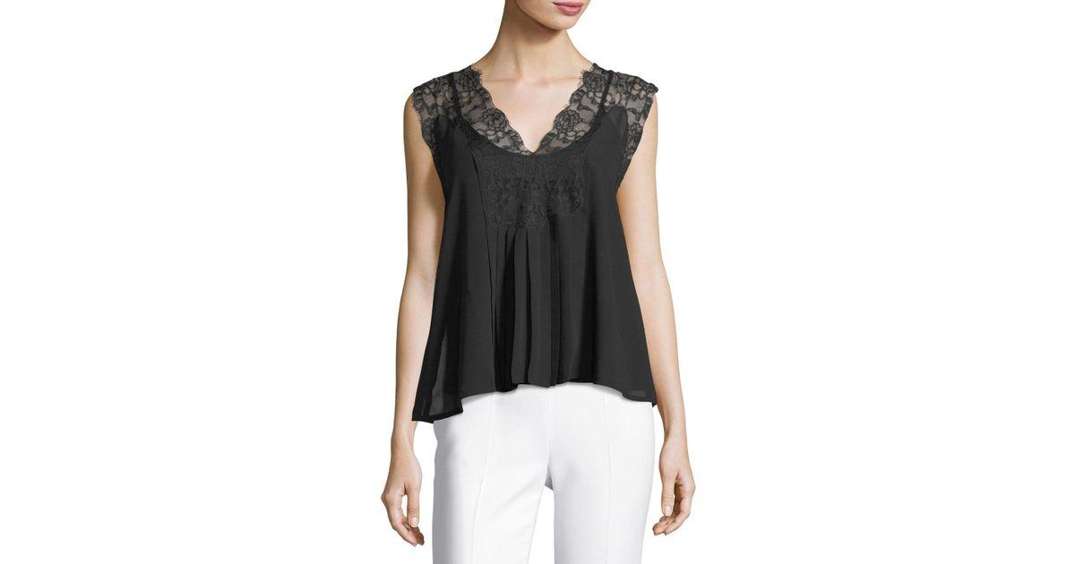 f944bf64e62246 Lyst - Love Sam Lace-trim Sleeveless Top in Black