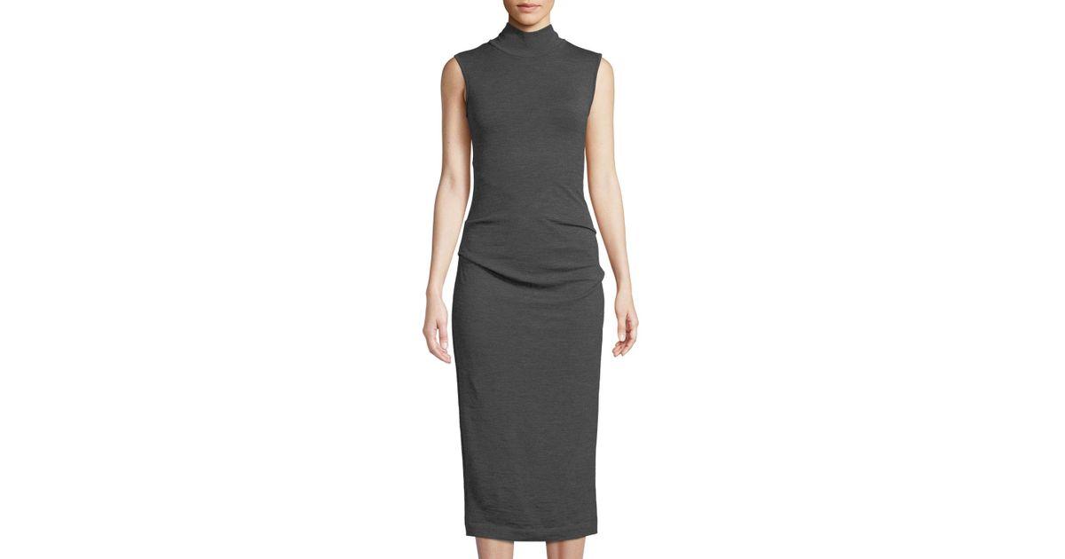 789531e3fc192 Lyst - Brunello Cucinelli Ruched Sleeveless Turtleneck Midi Dress in Gray