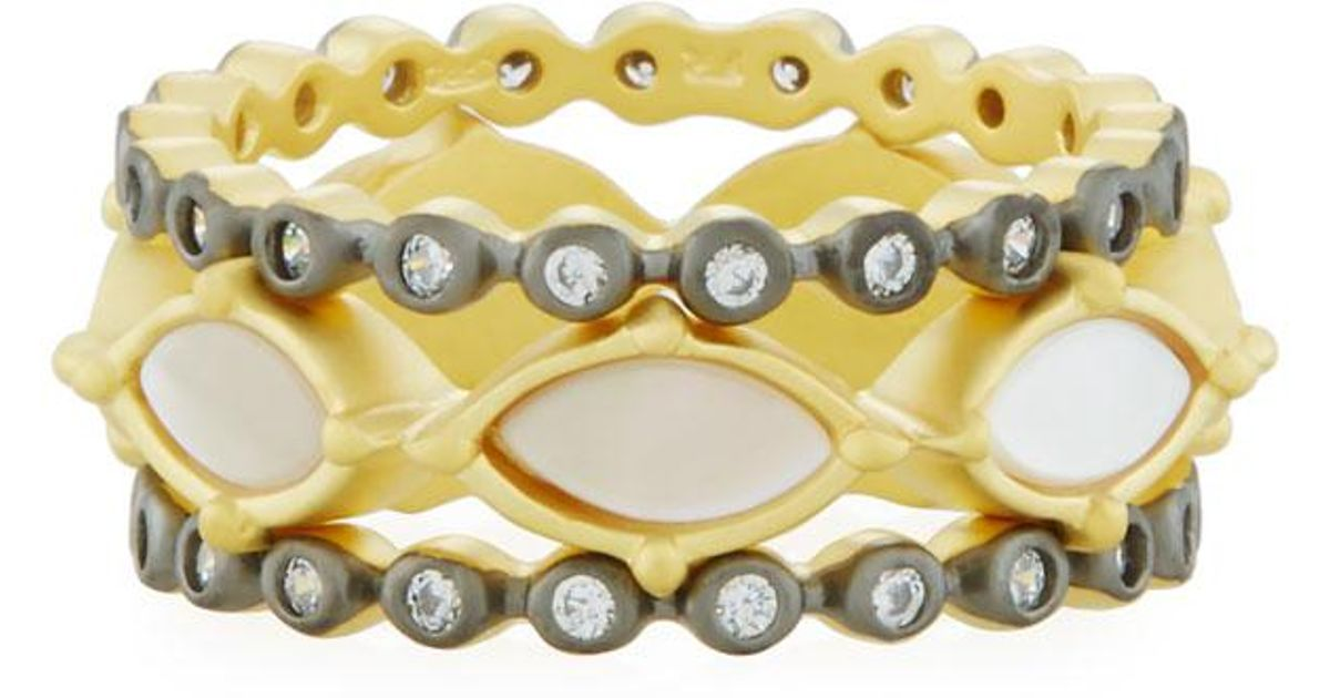 Freida Rothman Iridescent Marquise & Crystal Stacking Rings, Set of 3