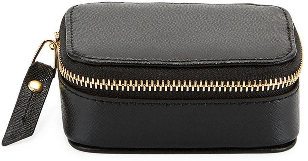 Lyst - Neiman Marcus Small Saffiano Leather Pill Case in Black c1024045c8373