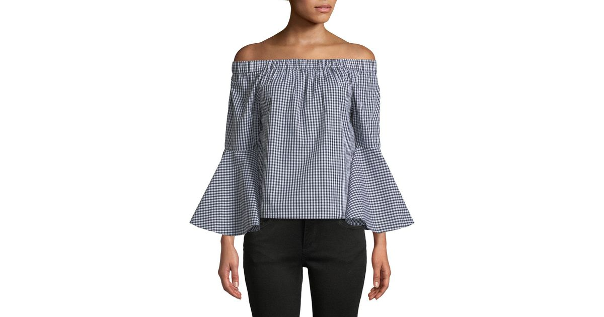 b312395ac6cae6 Lyst - Neiman Marcus Off-the-shoulder Bell-sleeve Gingham Blouse in Black