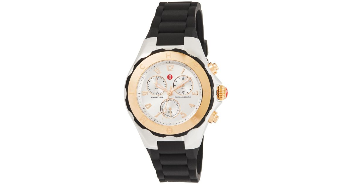 9e2a4af80 Michele 40mm Tahitian Jelly Bean Chronograph Watch W/ Silicone Strap in  Black - Lyst