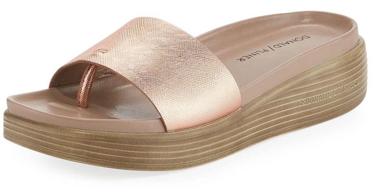 9df36ef16fa Lyst - Donald J Pliner Fiji Patent Platform Slide Sandal