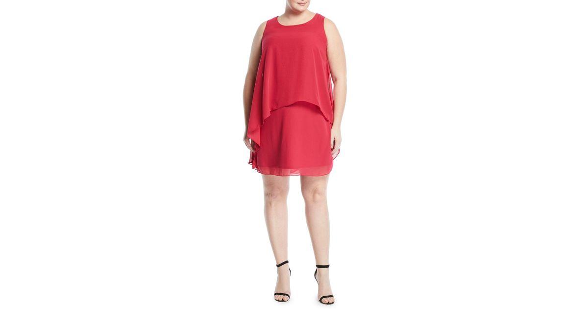 Neiman Marcus - Tiered Chiffon Shift Dress Plus Size - Lyst