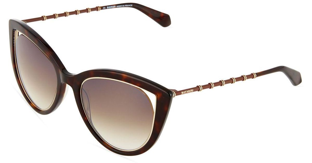 9256aafc31c68 Balmain Two-tone Cat-eye Sunglasses in Black - Lyst