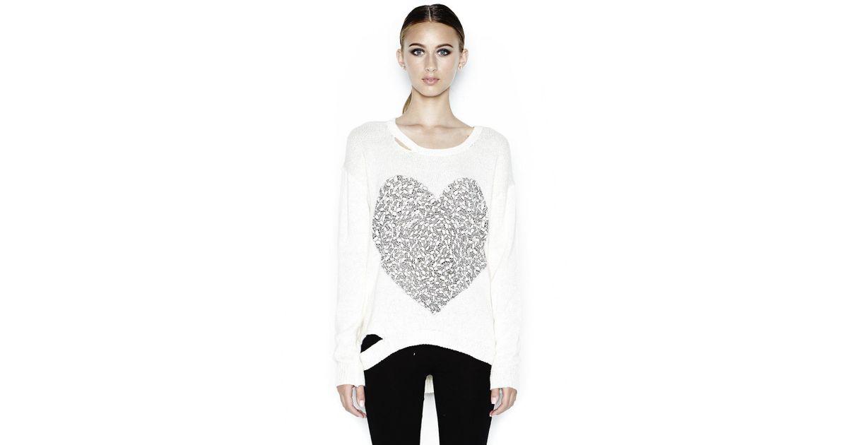 45b8969c5 Lyst - Lauren Moshi Jewel Mini Skull Heart L/s Sweater W/ Holes in Natural
