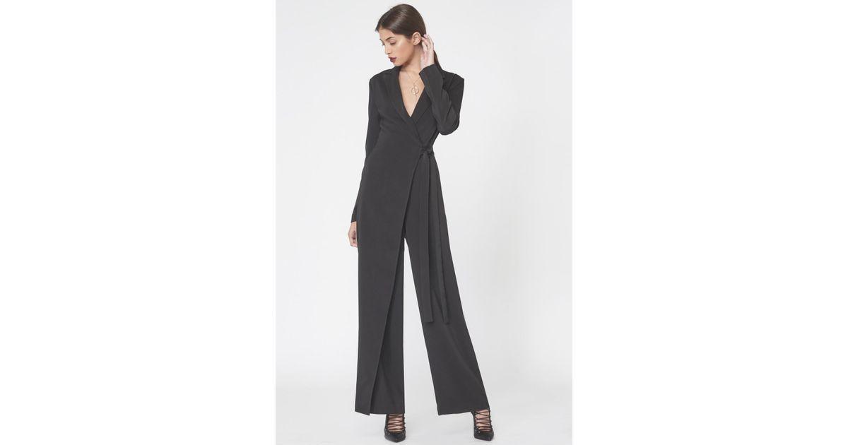 fe3983e535d Lyst - Lavish Alice Wrap Over Tailored Jumpsuit In Black in Black