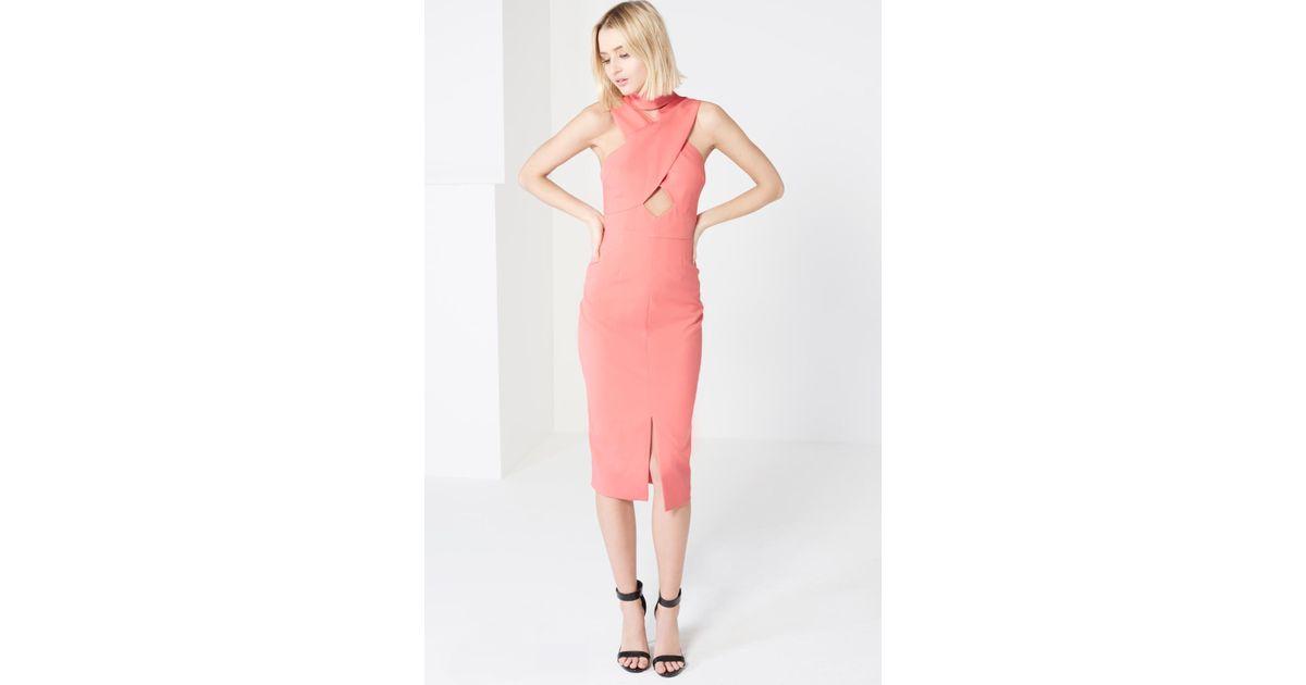 Womens Coral Pink High Neck Cut-Out Detail Centre Split Midi Dress Lavish Alice Buy Cheap Sale Best Place Cheap Price EmzJwh