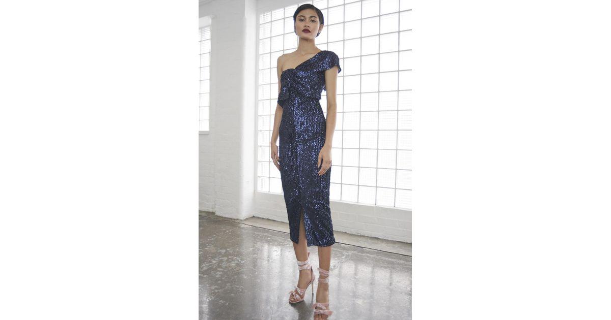 86c586ae26225 Lavish Alice Velvet Sequin Twisted Detail Midi Dress in Blue - Lyst