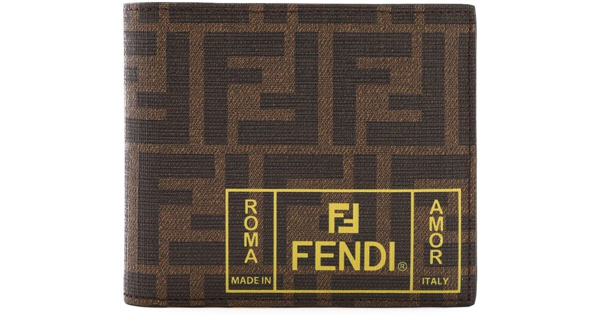 hot sale online 1e6e0 1c458 Fendi - Brown Portafoglio Bi-fold Ff for Men - Lyst