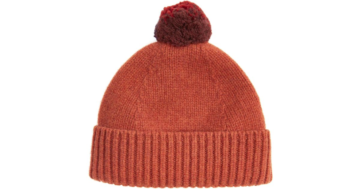 c46561249e9 Lyst - Paul Smith Contrast Pom-pom Beanie in Orange for Men