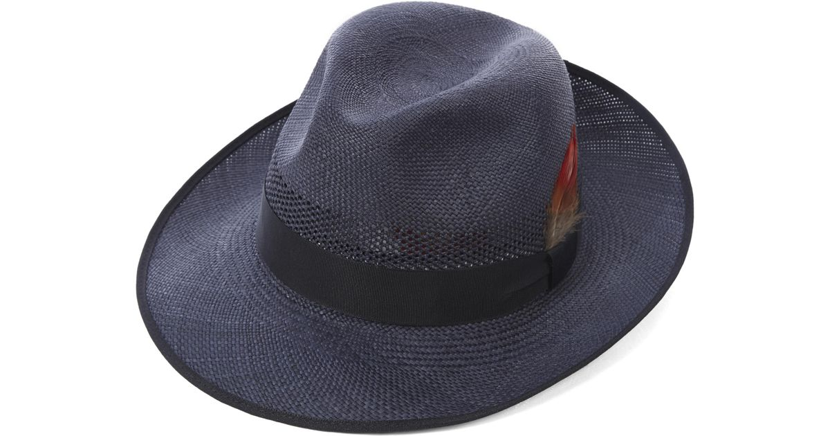 4f10f5efa38 Christys  Notting Hill Snap Brim Panama Hat in Blue for Men - Lyst