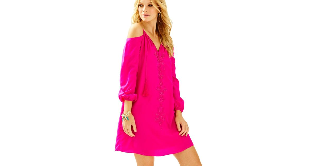 877ec11a491 Lilly Pulitzer Fulton Open Shoulder Tunic Dress in Pink - Lyst