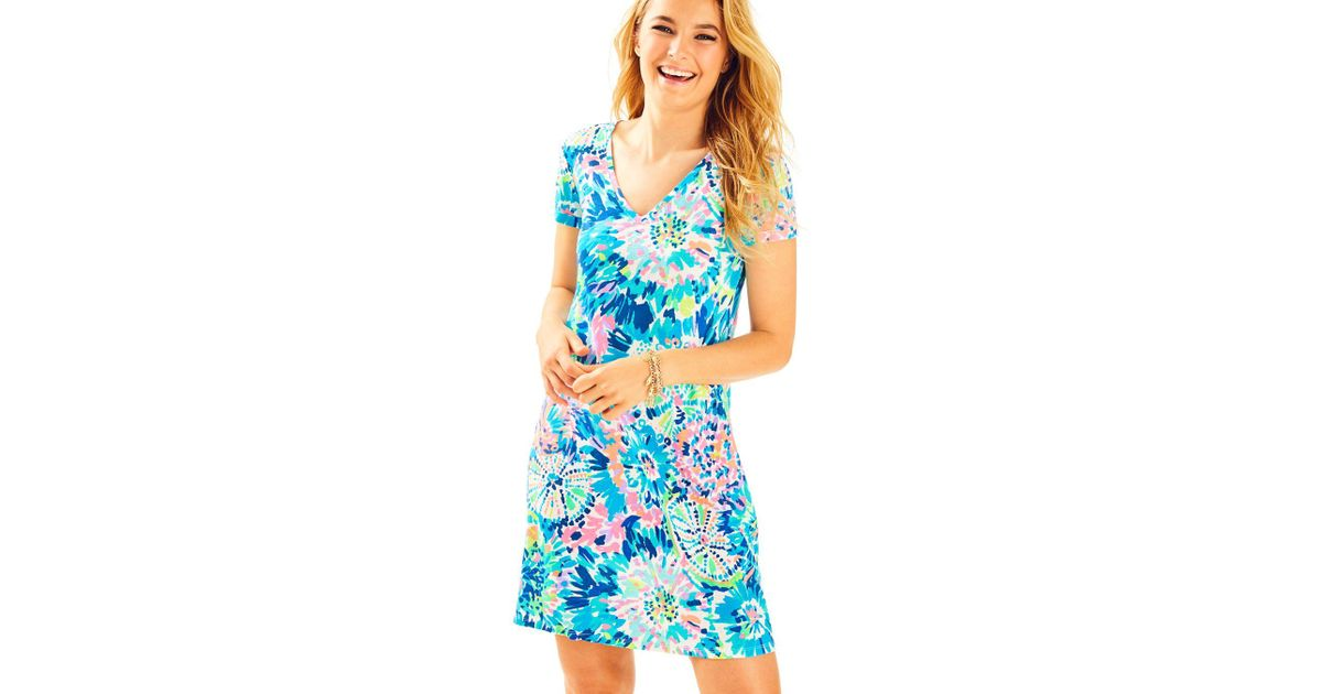 a0074a25656f09 Lilly Pulitzer Jessica Short Sleeve Dress in Blue - Lyst