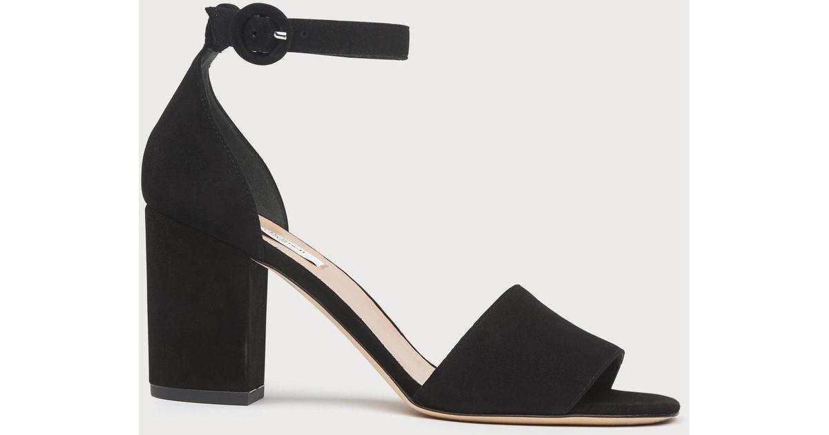 00b05566ede L.K.Bennett Hester Black Suede Block Heel Sandals in Black - Save 25% - Lyst