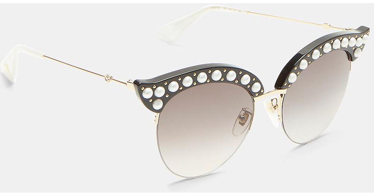 2e3939cf1c Lyst - Gucci Pearl Studded Cat Eye Sunglasses In Black in Black