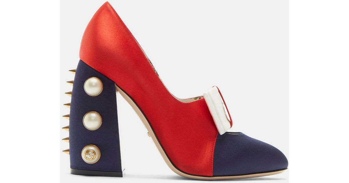 4dcdd761bbd Lyst - Gucci Women s Satin Studded Bow Pumps In Red in Red