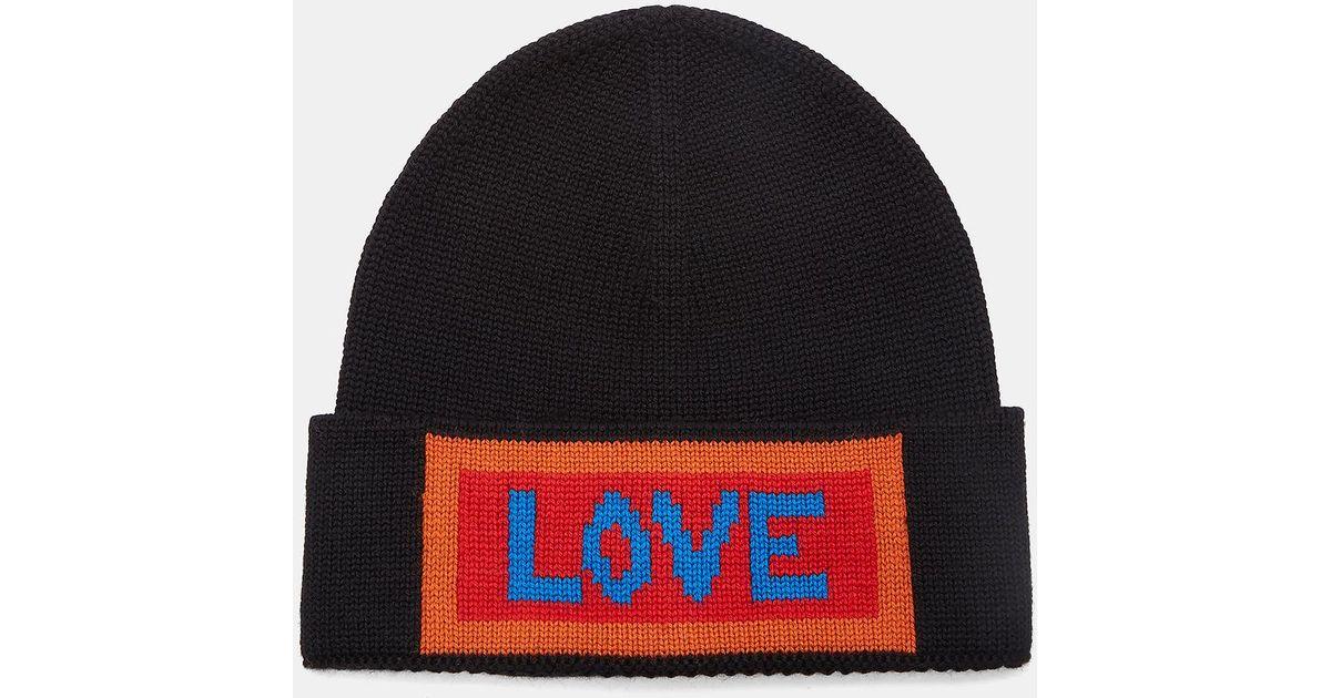 ed6007d550efb2 Fendi Love Intarsia Knit Beanie Hat for Men - Lyst