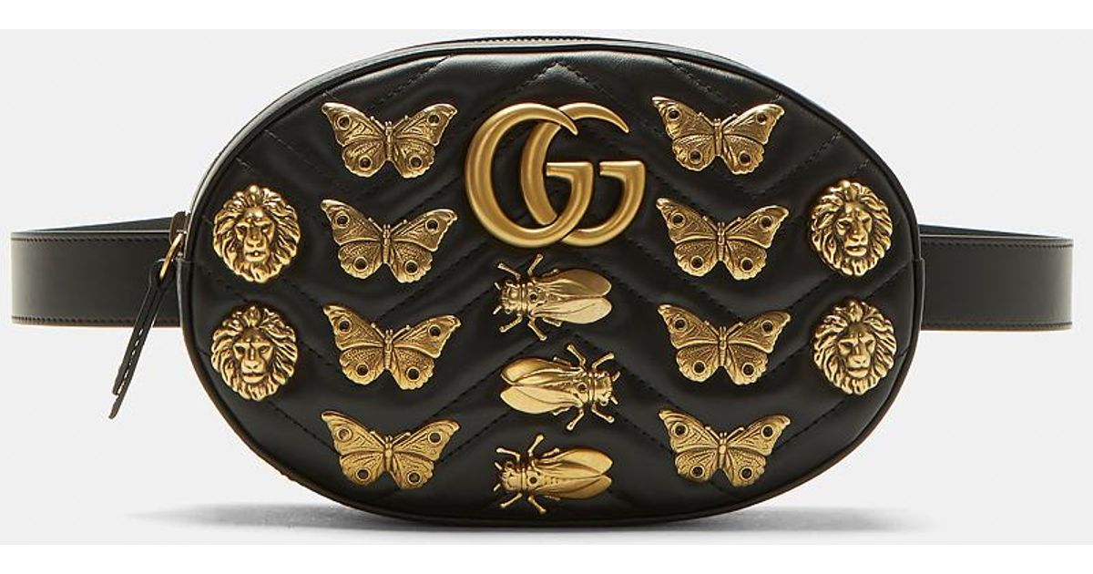 ed6faf33ff691b Gucci Gg2.0 Marmont Insect Belt Bag In Black in Black - Lyst