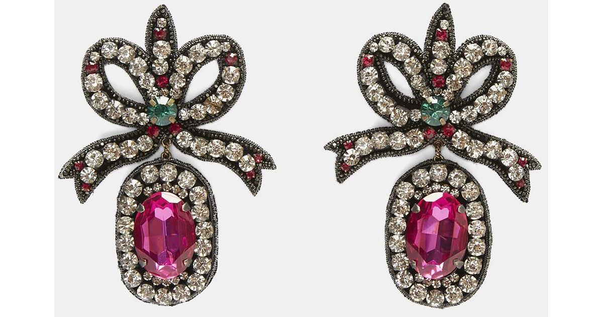 Lyst Gucci Crystal Embroidered Bow Earrings In Black And Pink
