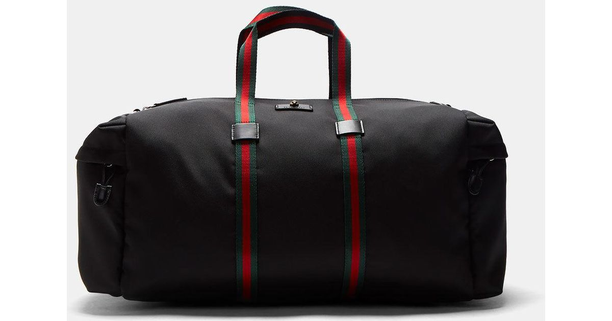 4e2d17d1aaf7ae Gucci Men's Techpack Canvas Striped Webbing Duffle Bag In Black in Black  for Men - Lyst