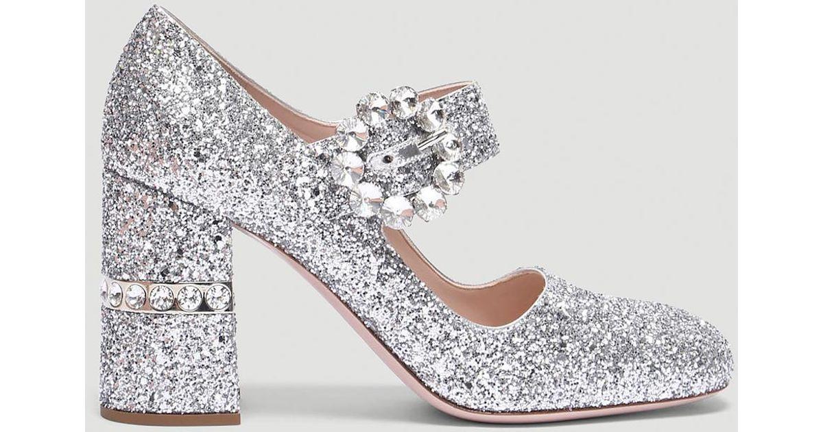 454938d258b Lyst - Miu Miu Glitter Mary Jane Pumps In Silver in Metallic