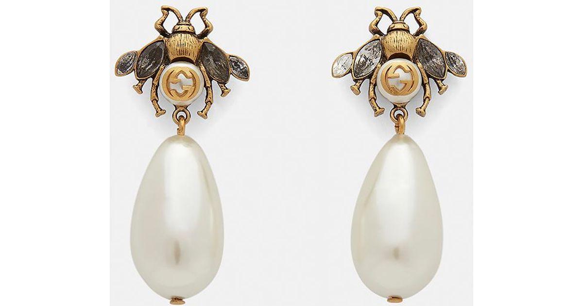 c61dbedb380 Lyst - Gucci Bee Earrings In Gold in Metallic