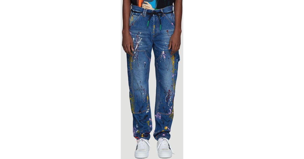 d5262521988 Lyst - Off-White c o Virgil Abloh Carpenter Splatter Jeans In Blue in Blue  for Men