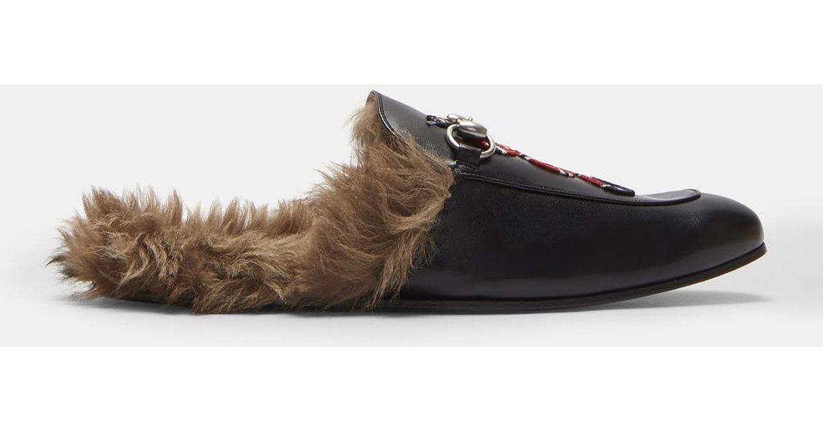 5acb5904cd7 Lyst - Gucci Princetown Kingsnake Slipper Shoes In Black in Black for Men