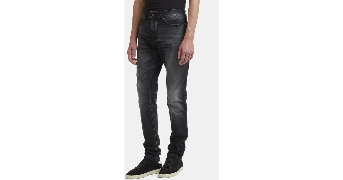 81b26f0d29d Saint Laurent D02 Low-waisted Université Patch Skinny Jeans In Black in  Black for Men - Lyst