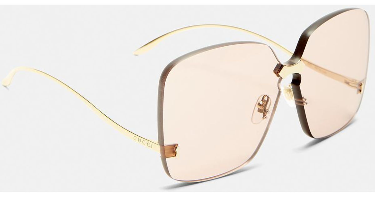 e16bf534be8 Gucci Square Frameless Gold Arm Sunglasses In Pink in Metallic - Lyst