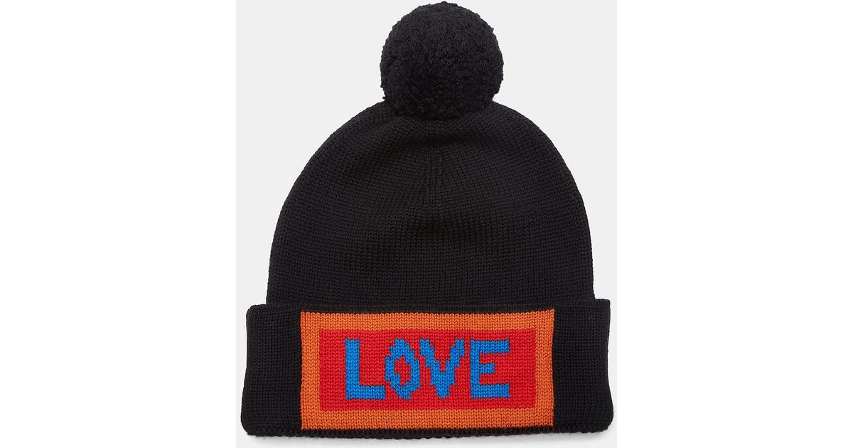 0a10535a28e Lyst - Fendi Love Logo Knit Pom-pom Hat In Black in Black for Men