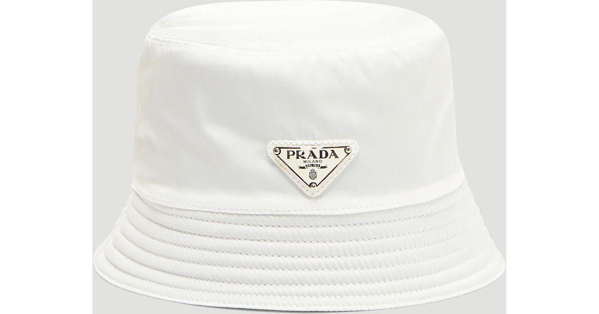 3c63bae2868d7e Prada Nylon Logo Bucket Hat In White in White for Men - Lyst