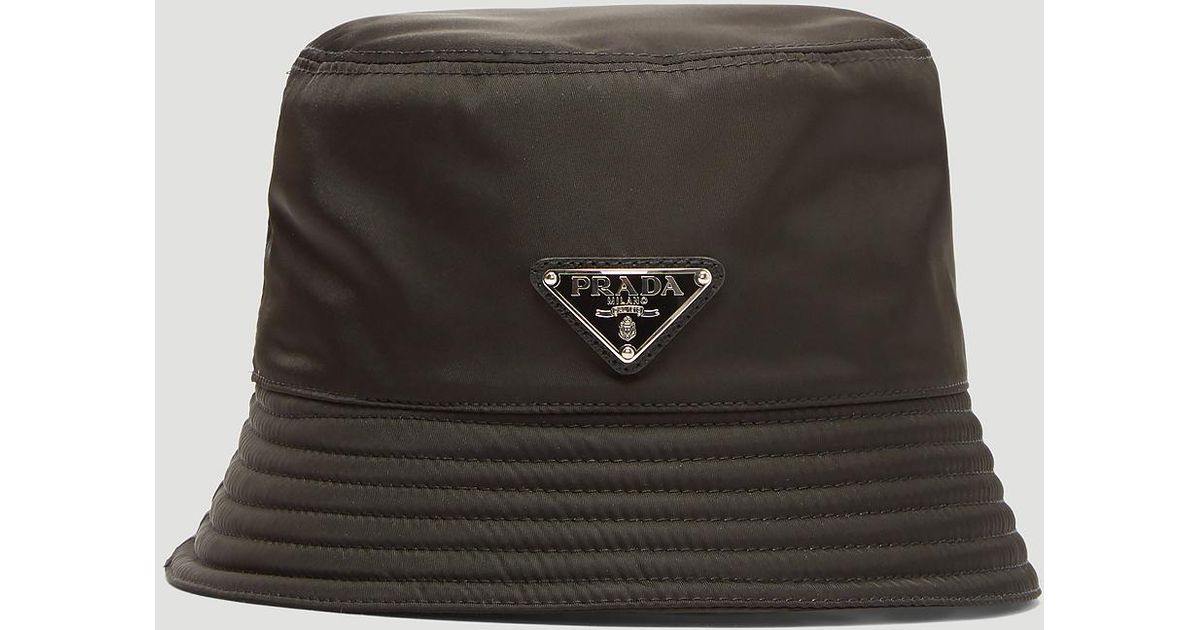 afee41da853 Lyst - Prada Nylon Logo Bucket Hat In Black in Black for Men