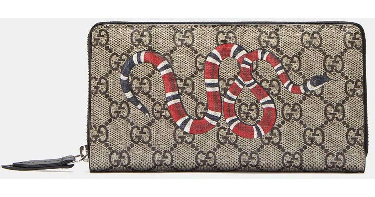 a79fc72b135 Lyst Gucci Snake Print Gg Supreme Zip Around Wallet For Men
