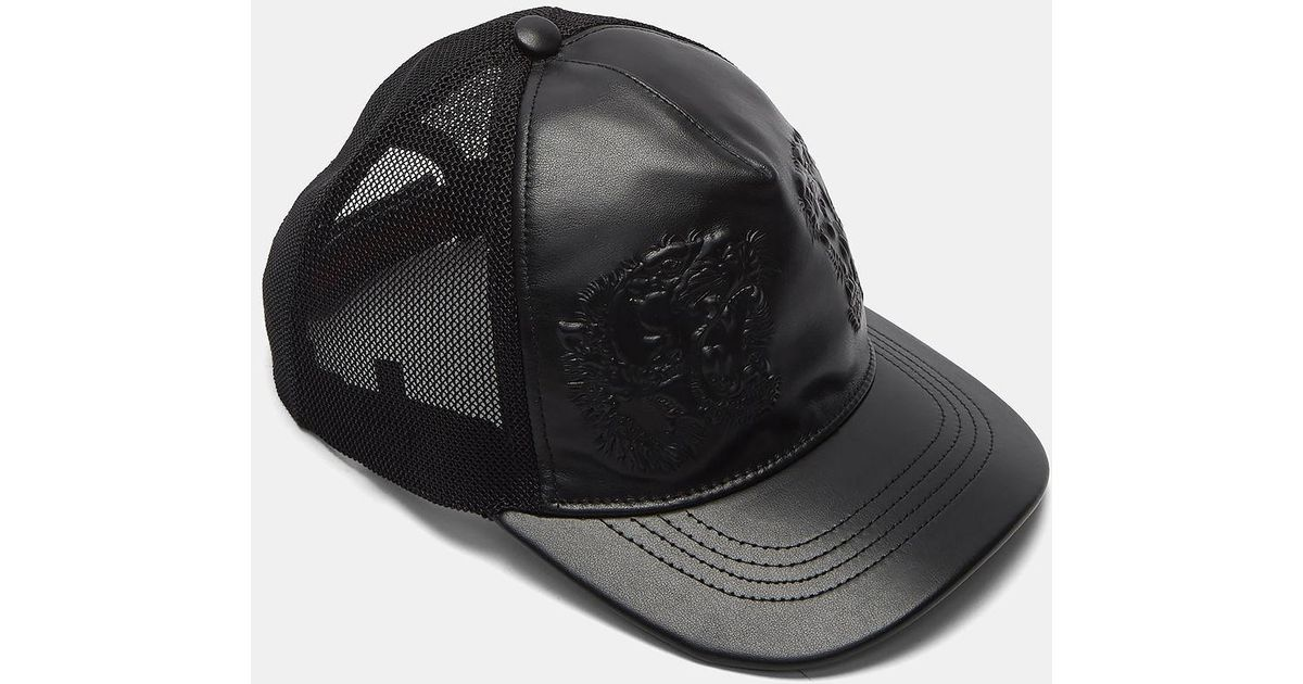 Lyst - Gucci Men s Leather Embossed Tiger Cap In Black in Black for Men d19c9c99058