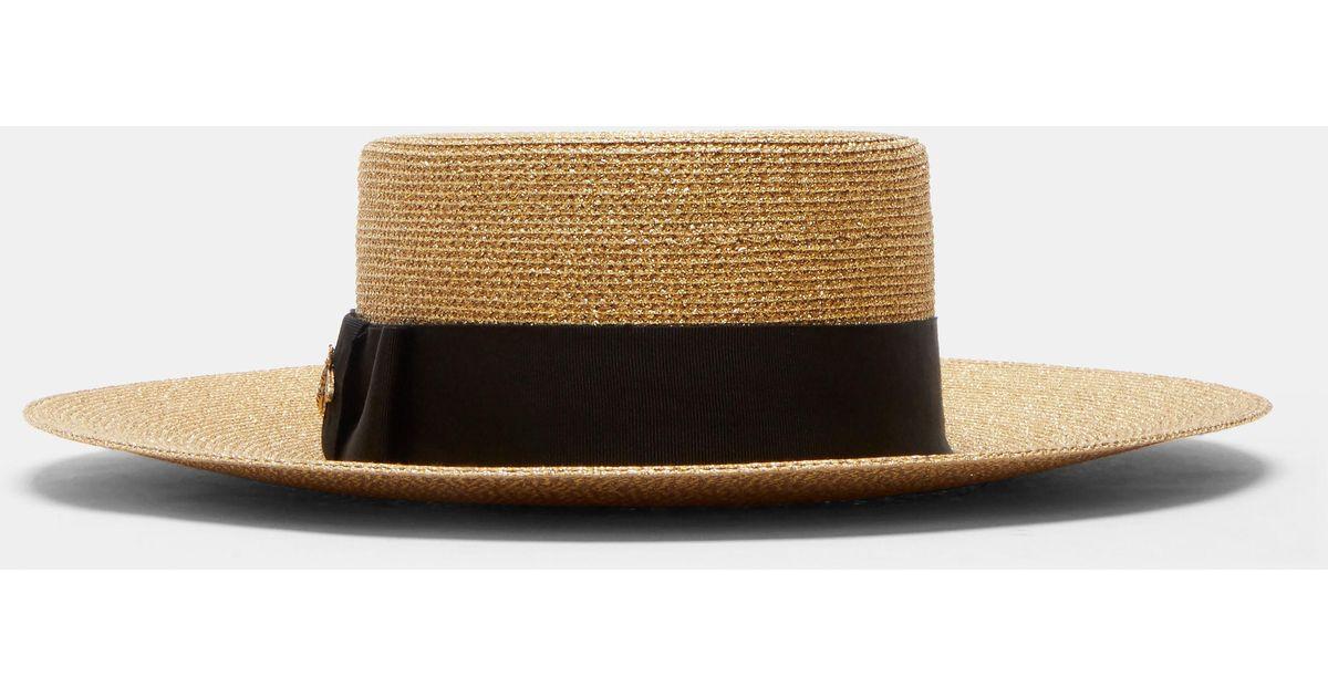 Lyst - Gucci Women s Alba Lurex Papier Hat In Gold in Metallic 27e14047418