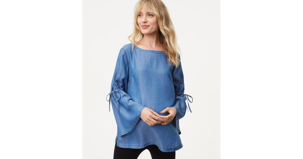 dfb8d70985ffd LOFT Maternity Chambray Tie Bell Sleeve Top in Blue - Lyst