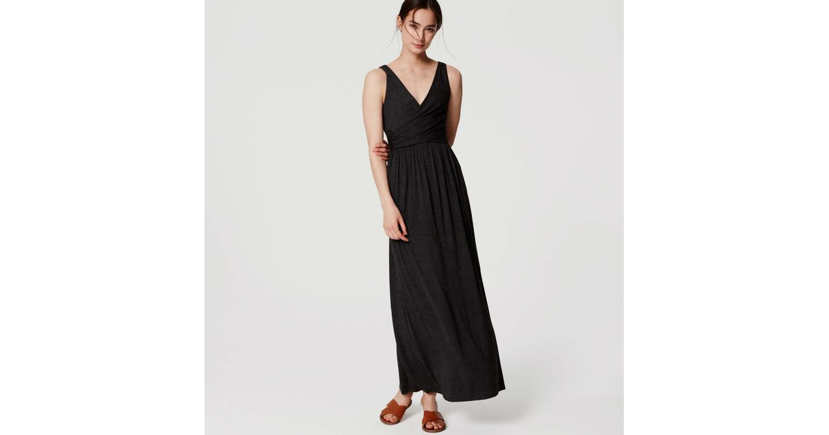 a1acf22dea Lyst - LOFT Double V Maxi Dress in Black