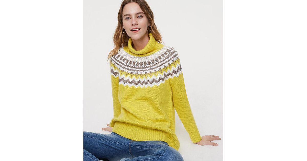 Lyst - Loft Petite Fairisle Turtleneck Sweater in Yellow