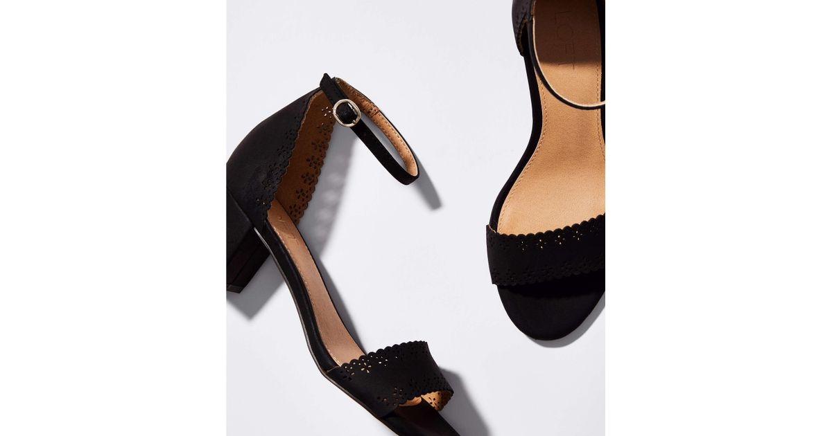 4596a4832517 Lyst - LOFT Eyelet Block Heel Sandals in Black