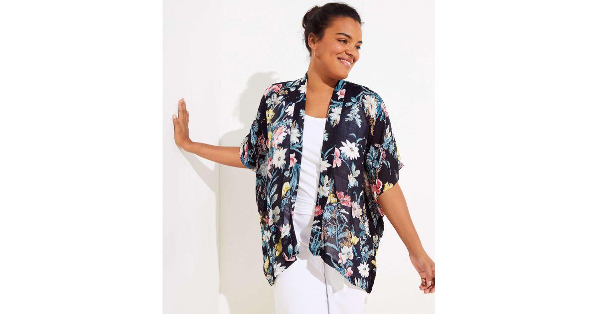 8ad85ca5f32 LOFT Plus Bouquet Kimono in Blue - Lyst