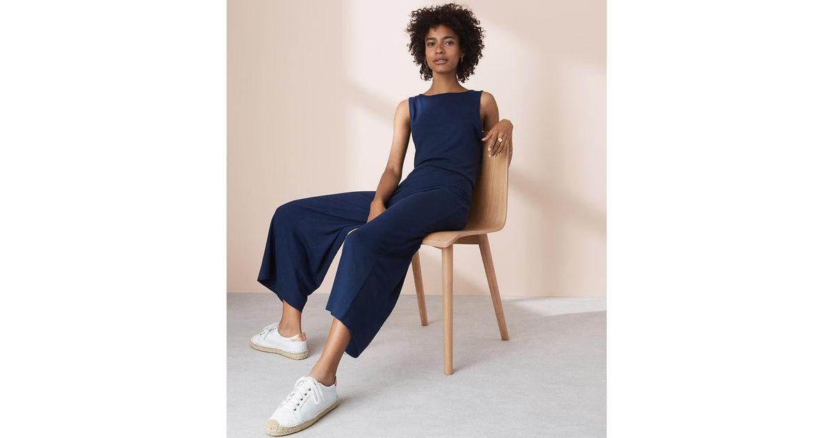 3cf9370b8134 Lyst - LOFT Lou   Grey Twist Back Jumpsuit in Blue