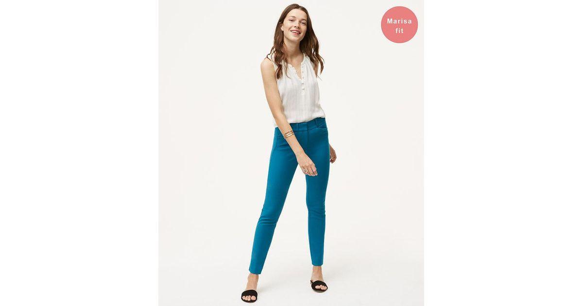 3ff6685778b Lyst - LOFT Skinny Bi-stretch Ankle Pants In Marisa Fit in Blue